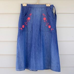 bfb343a69bd Dresses   Skirts - Vintage Denim Wrap Skirt Embroidered Pockets ...